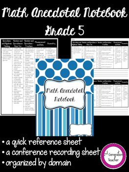 Grade 5 Math Anecdotal Notebok