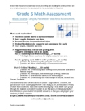 Grade 5 Math Assessment: Linear measurements, Perimeter and Area.
