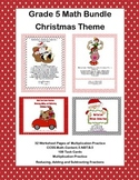 Grade 5 Math Bundle- Christmas Theme-  Multiplication and Fractions