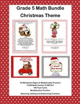 Grade 5 Math Bundle- Christmas Theme-  Multiplication and