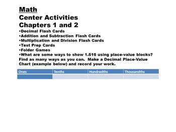 Grade 5 Math Center Activities and Problems