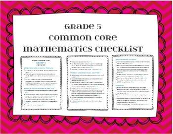 Grade 5 Math Common Core Checklist