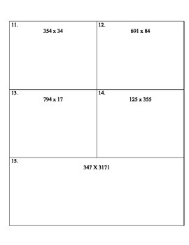 Grade 5 Math Computation Placement Test