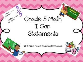 Grade 5 Math I Can Statement Posters - Saskatchewan