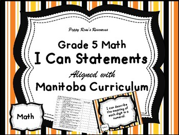 Grade 5 Math I Can Statements Manitoba Curriculum