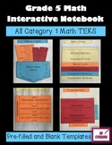 Grade 5 Math Interactive Notebook - Category 1 - TEKS
