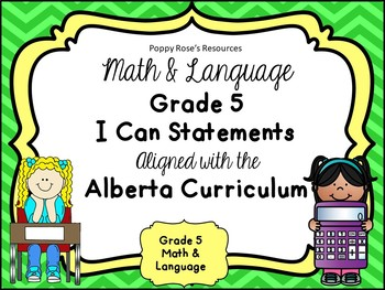 Alberta Grade 5 Math & Language I Can Statements