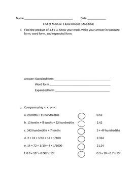 Grade 5 Math Module 1 Unit Test - MODIFIED