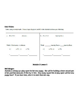 Grade 5 Math Module 2 Application and Exit Ticket Packet