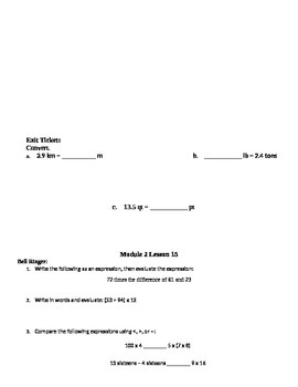Grade 5 Math Module 2 Bell Ringers and Exit Tickets