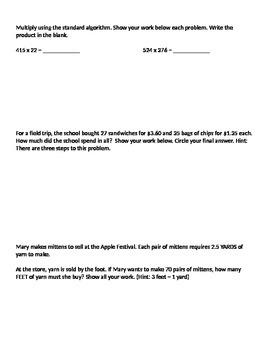 Grade 5 Math Module 2 Mid-Module Assessment Review sheets