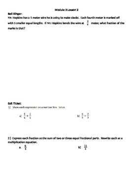 Grade 5 Math Module 3 Bell Ringer/Exit Ticket Book