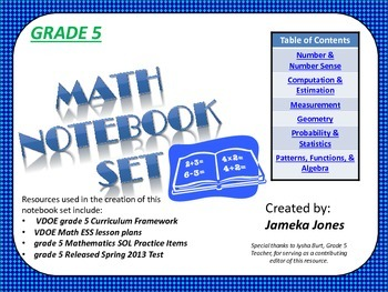 Grade 5 Math Notebook