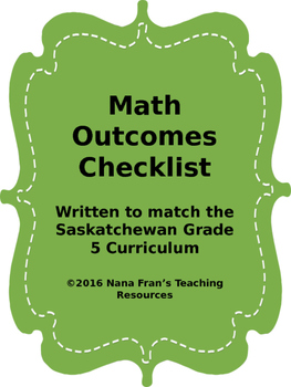 Grade 5 Math Outcome Indicators Checklist