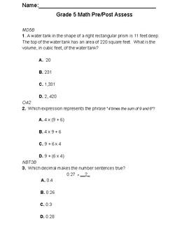 Grade 5 Math Pre & Post Assessment
