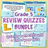 GRADE 5 Math Review Quiz Bundle / Mega Pack - 6 CCSS Aligned PPT Quizzes