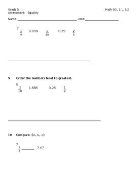 Grade 5 Math SOL 5.1, 5.2 Assessment:   Equality