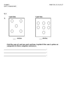 Grade 5 Math SOL 5.3 & 5.17 Unit 1 Assessment