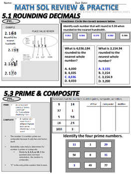 Grade 5 Math SOL Review Packet