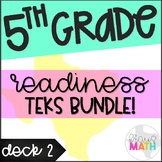 Grade 5 Math STAAR Test Prep Task Cards DECK 2: READINESS TEKS BUNDLE!