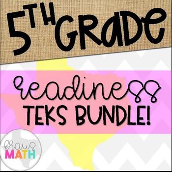 Grade 5 Math STAAR Test-Prep Task Cards READINESS TEKS Bundle!