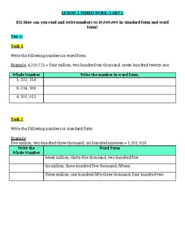Grade 5 Math Unit 1 Place Value of Whole Numbers & Decimals Tiered Work Bundle