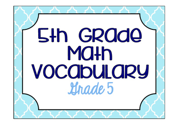 5th Grade Math Vocabulary Game/ Flash Cards (GRADE 5)