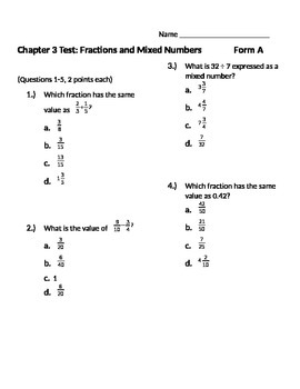 Grade 5: Math in Focus: Chapter 3: Fractions and Mixed Numbers Alternative Test
