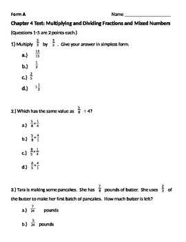 Grade 5: Math in Focus: Chapter 4 Alt. Assessment: Multiply \u0026 Divide Fractions