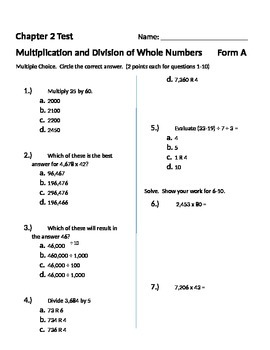Grade 5: Math in Focus Test: Chapter 2: Whole Number Multiplication and Division
