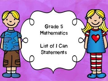 Grade 5 Mathematics I Can Statements List