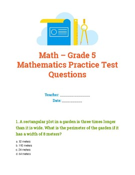 5th Grade Mathematics Practice Test Questions