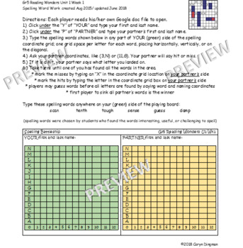 Grade 5 McGraw-Hill Reading Wonders Unit 1 Digital Spelling Battleship