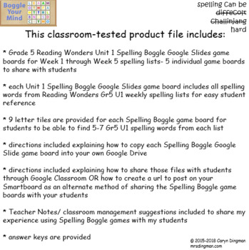 Grade 5 McGraw-Hill Reading Wonders Unit 1 Digital Spelling Boggle