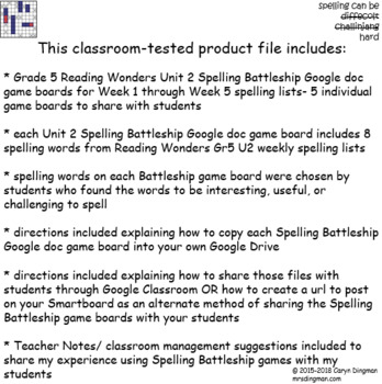 Grade 5 McGraw-Hill Reading Wonders Unit 2 Digital Spelling Battleship