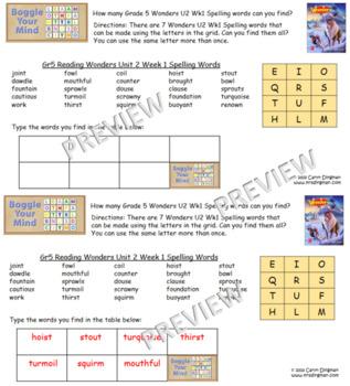 Grade 5 McGraw-Hill Reading Wonders Unit 2 Digital Spelling Boggle