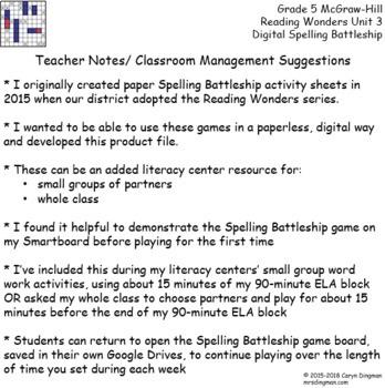 Grade 5 McGraw-Hill Reading Wonders Unit 3 Digital Spelling Battleship