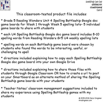 Grade 5 McGraw-Hill Reading Wonders Unit 4 Digital Spelling Battleship