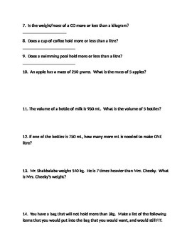 Grade 5 Measurement Test