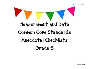 Grade 5 Measurement and Data Standards Checklist