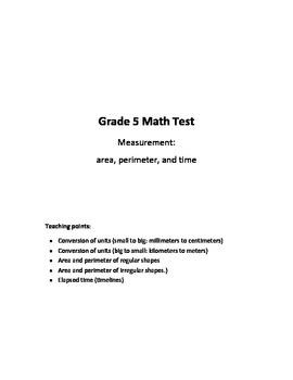 Grade 5 - Measurement (area, perimeter, time) Test