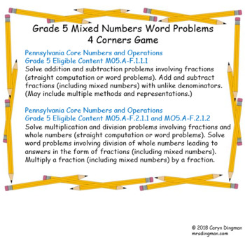 Grade 5 Mixed Numbers Word Problems 4 Corners Game
