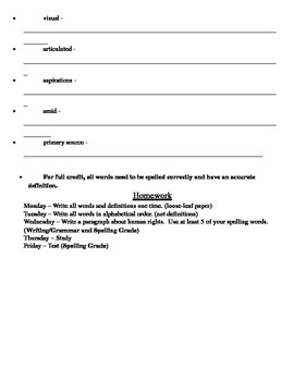 Grade 5 Module 1 ELA Spelling and Vocabulary List