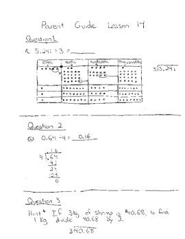 Grade 5 Module 1 Lesson 14 Parent Guide/Homework Help Dividing decimals