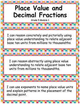 Grade 5 Module 1: Place Value and Decimal Fractions, I CAN Statements
