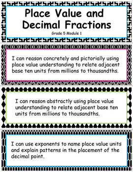 Grade 5 Module 1:Place Value and Decimal Fractions, I CAN Statements