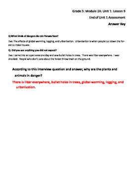 Grade 5 Module 2A Unit 1 Lesson 9 Rainforest Assessment