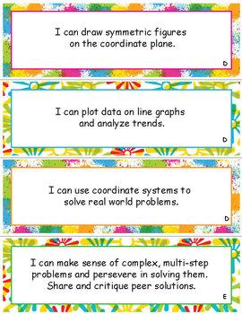 Grade 5 Module 6, Problem Solving w/ Coordinate Plane, VOCAB & I CAN statements