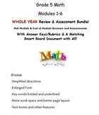 Grade 5, WHOLE YEAR Modules 1-6, Mid & End of Mod Reviews & Assessments BUNDLE!