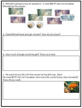 Grade 5 Money Assessment